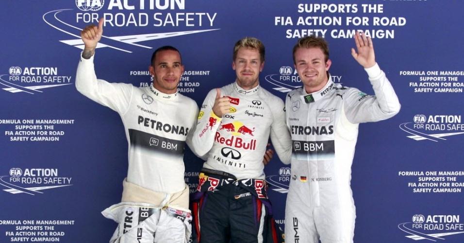 26.out.2013 - Alemão Sebastian Vettel fez a pole position do GP da Índia de Fórmula 1, seguido por Nico Rosberg e Lewis Hamilton
