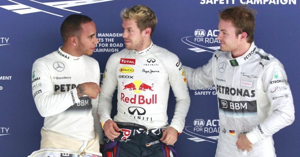 26.out.2013 - Sebastian Vettel, Nico Rosberg e Lewis Hamilton largarão nas três primeiras posições do GP da Índia de Fórmula 1