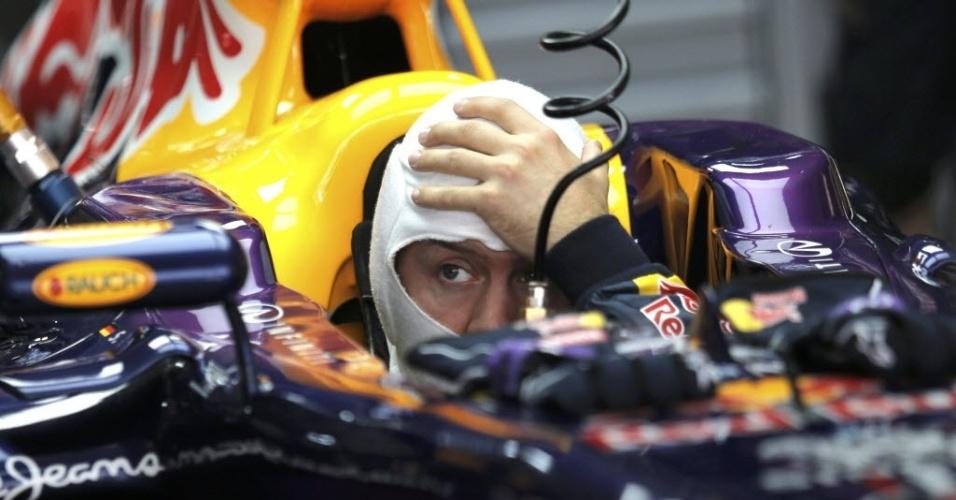 26.out.2013 - Sebastian Vettel usou pneus médios, mas não teve problema para passar pelo Q1 no treino oficial para o GP da Índia