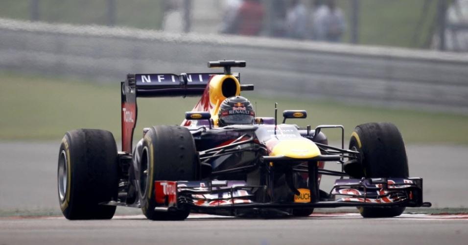 26.out.2013 - Soberano nos treinos do GP da Índia, Sebastian Vettel precisa apenas de um quinto lugar na corrida para ser campeão