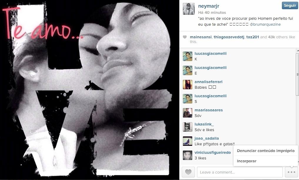Neymar faz nova declaração de amor para Bruna Marquezine no Instagram