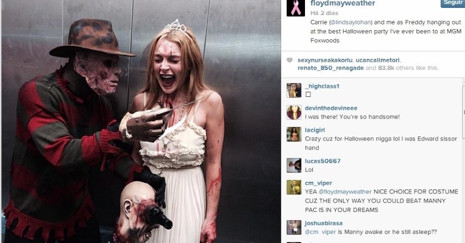 ?Money? Mayweather se engraça com Lindsay Lohan em festa de halloween