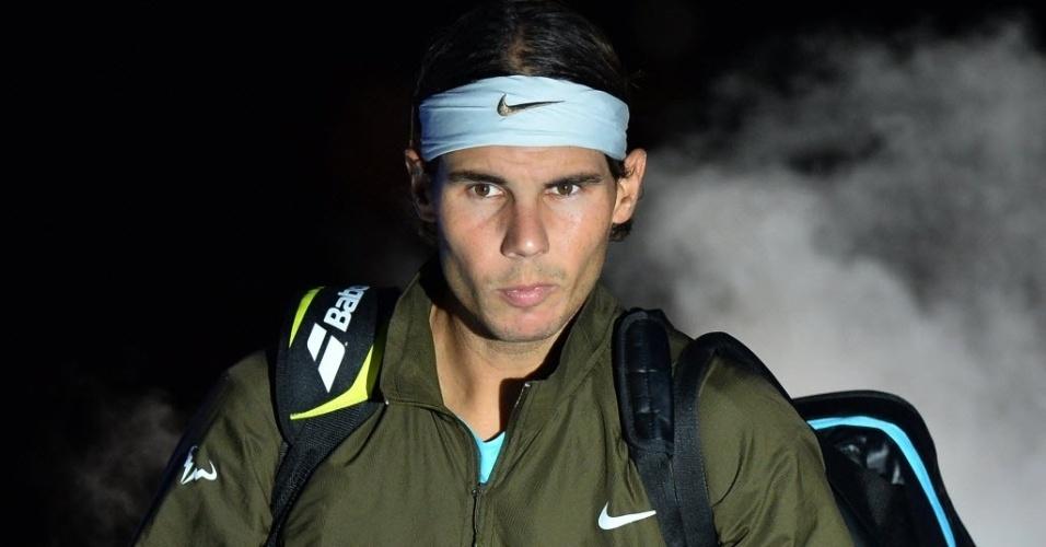 06.nov.2013 - Rafael Nadal entra na quadra para a partida contra Wawrinka pelas Finais da ATP