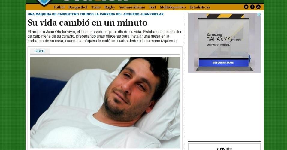 Goleiro Juan Obelar, que foi internado no Uruguai após perder quatro dedos da mão