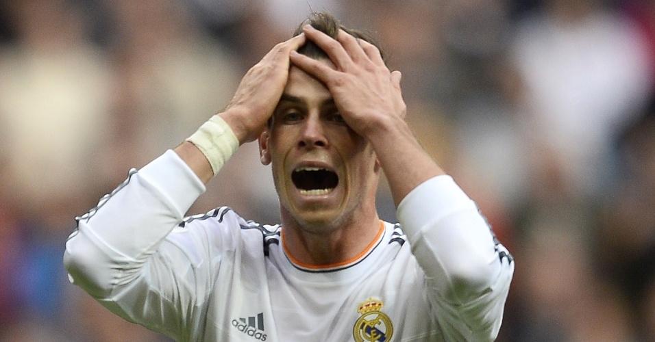 09.nov.2013 - Gareth Bale, do Real Madrid, lamenta gol perdido na partida contra o Real Sociedad, pelo Campeonato Espanhol