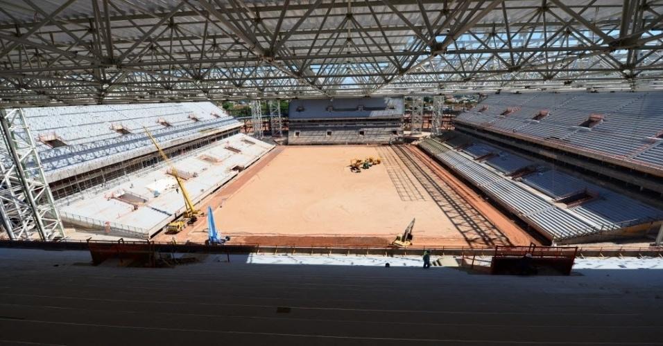 11.nov.2013 -  As obras da Arena Pantanal começaram em maio de 2010: foi o primeiro dos 12 estádios da Copa de 2014 a começar a ser construído e será um dos últimos a ser entregue