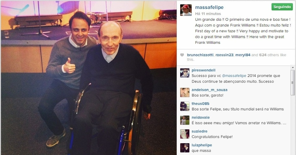 Felipe Massa ao lado de Frank Williams