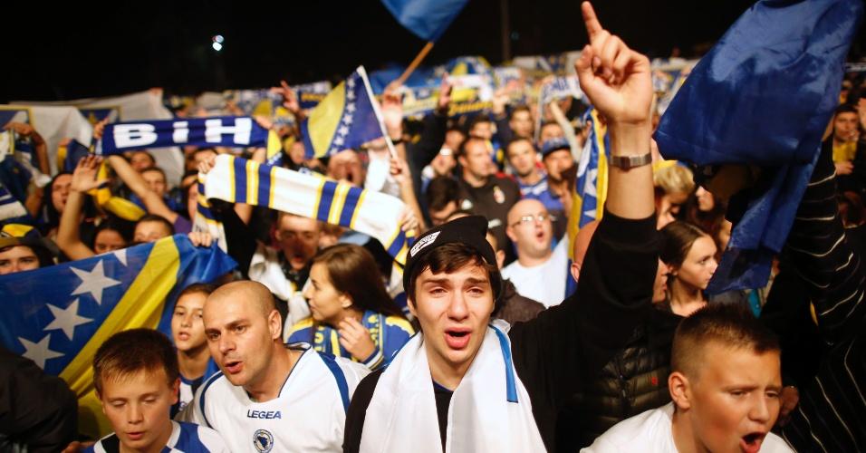 Torcida comemora classificação da Bósnia-Herzegóvina para a Copa 2014
