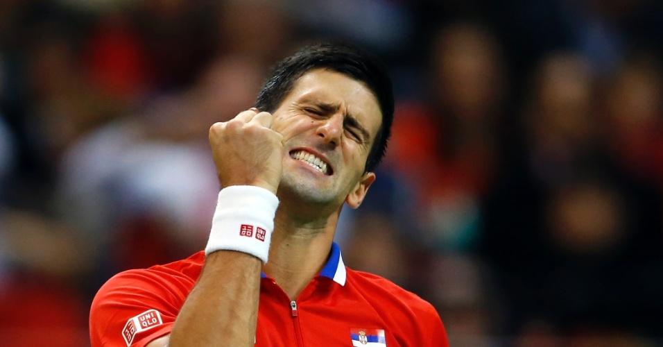 15.nov.2013 - Djokovic lamenta ponto perdido para Stepanek, na final da Copa Davis