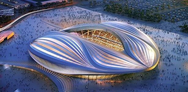 Projeto do estádio Al Wakrah, uma das sedes da Copa do Mundo de 2022, que será realizada no Qatar
