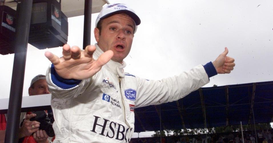 10.04.99 - Rubens Barrichello festeja o terceiro lugar no grid do GP Brasil