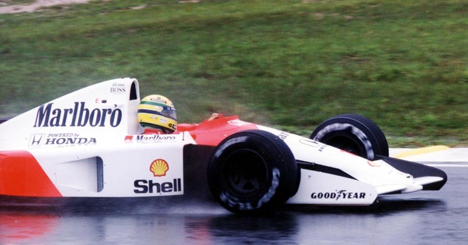 24.03.91 - Ayrton Senna durante o GP do Brasil de 1991