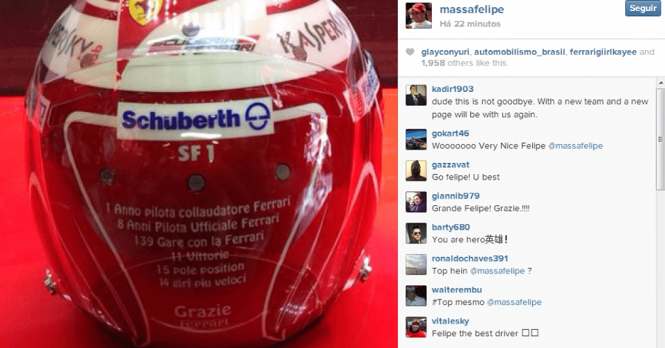21.11.2013 - Capacete especial de Felipe Massa no GP Brasil de 2013