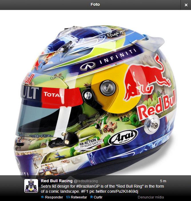 22.11.2013 - Sebastian Vettel mostra capacete especial do GP Brasil de F-1