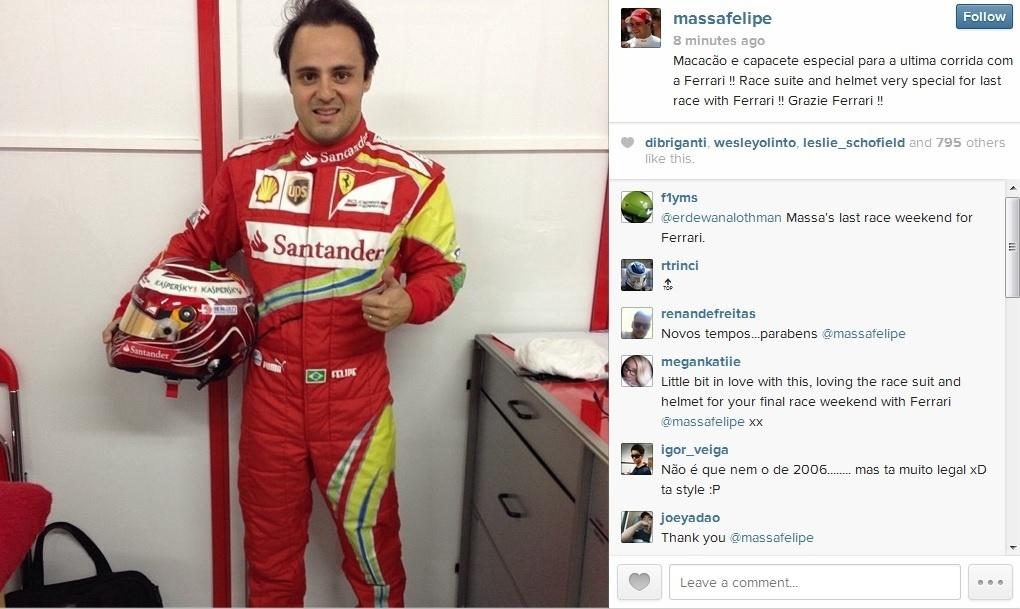 Felipe Massa exibe macacão e capacete especiais para GP do Brasil