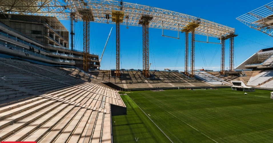 Construtora Odebrecht divulgou novas imagens do Itaquerão que já chegou a 94% de sua conclusão. Em sua página, a responsável pelas obras publicou algumas imagens em 360º do palco de abertura da Copa