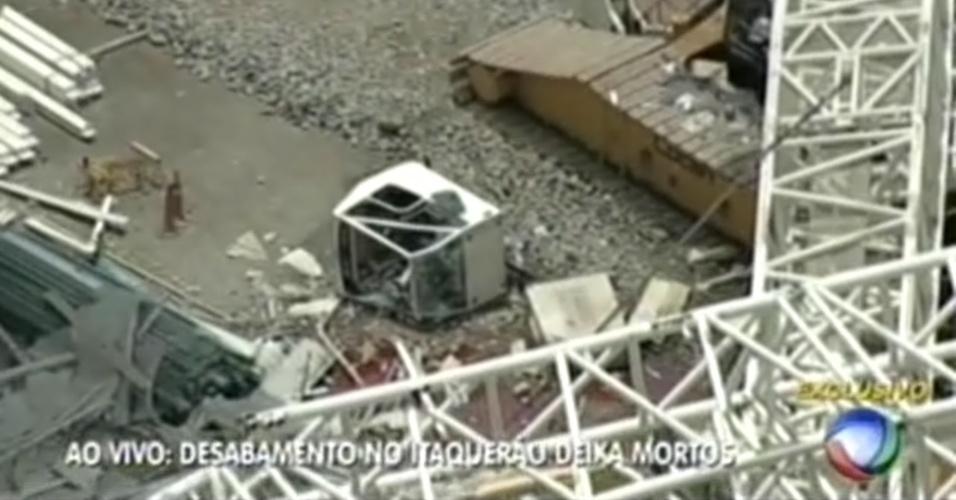 Imagens mostram a cabine usada pelos operários no momento do acidente no Itaquerão