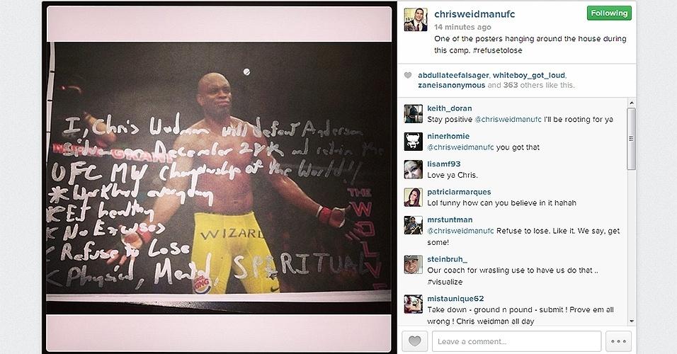 Chris Weidman posta mensagem motivacional para revanche contra Anderson Silva no UFC 168