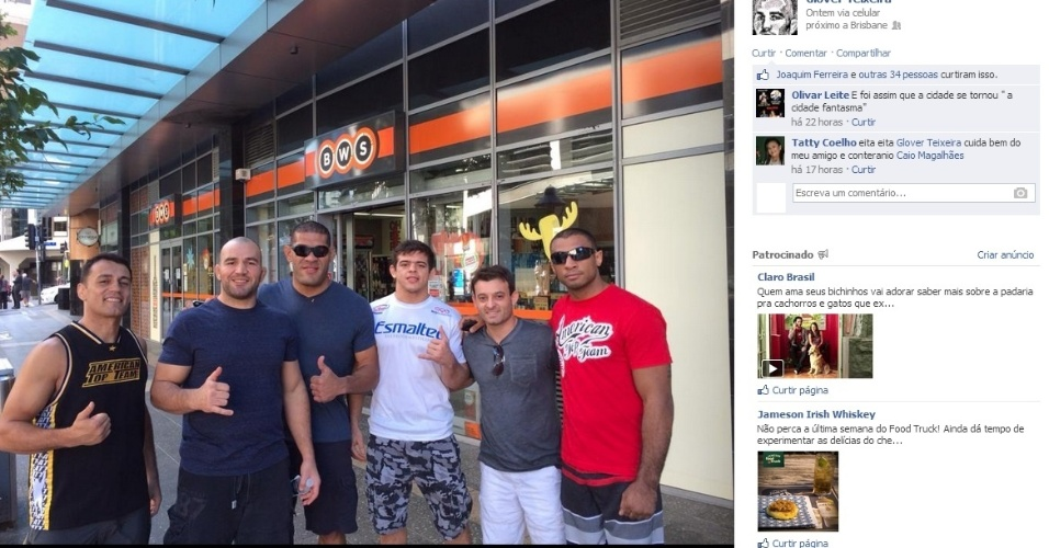 Antonio Silva, o Pezão, posa com Caio Magalhães, Glover Teixeira e outros amigos em Brisbane, às vésperas do UFC desta sexta-feira; o gigante encara Mark Hunt