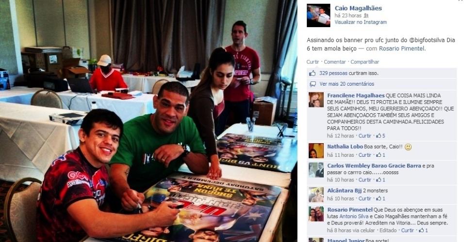 Caio Magalhães e o protagonista Antonio Pezão assinam cartazes às vésperas do UFC desta sexta-feira, na Austrália; Pezão encara o veterano Mark Hunt