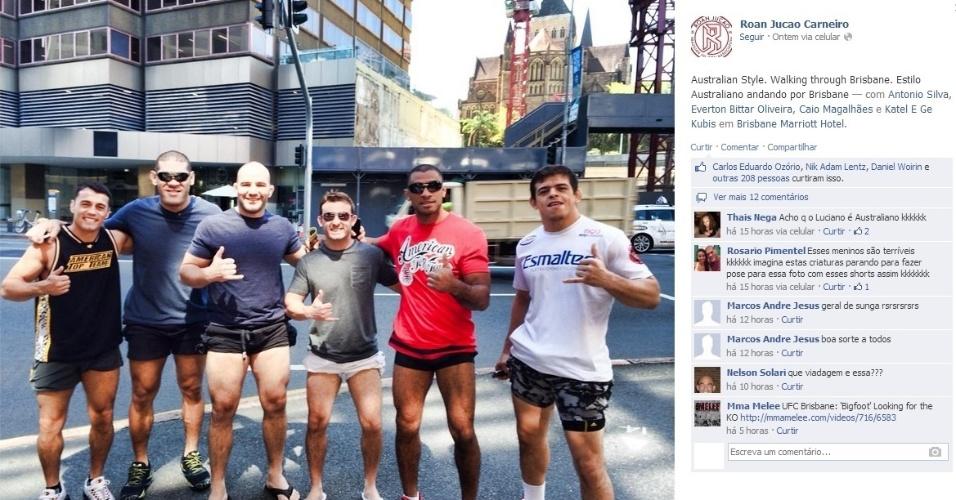 Com 'estilo australiano', brasileiros se divertem antes do UFC desta sexta-feira; Antonio Silva, o Pezão, encara Mark Hunt na luta principal do card, na categoria peso pesado