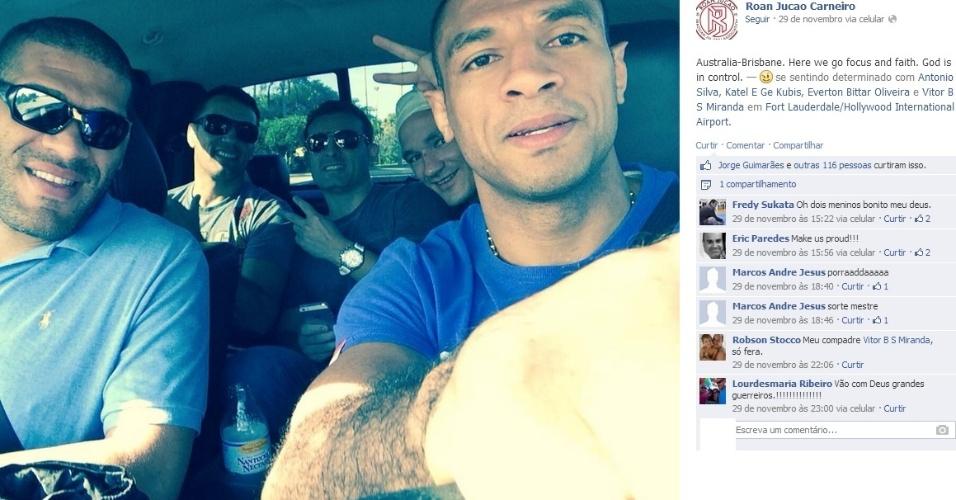 Pezão (e) já está na Austrália e preparado para encarar Mark Hunt em Brisbane, nesta sexta-feira, pelo UFC