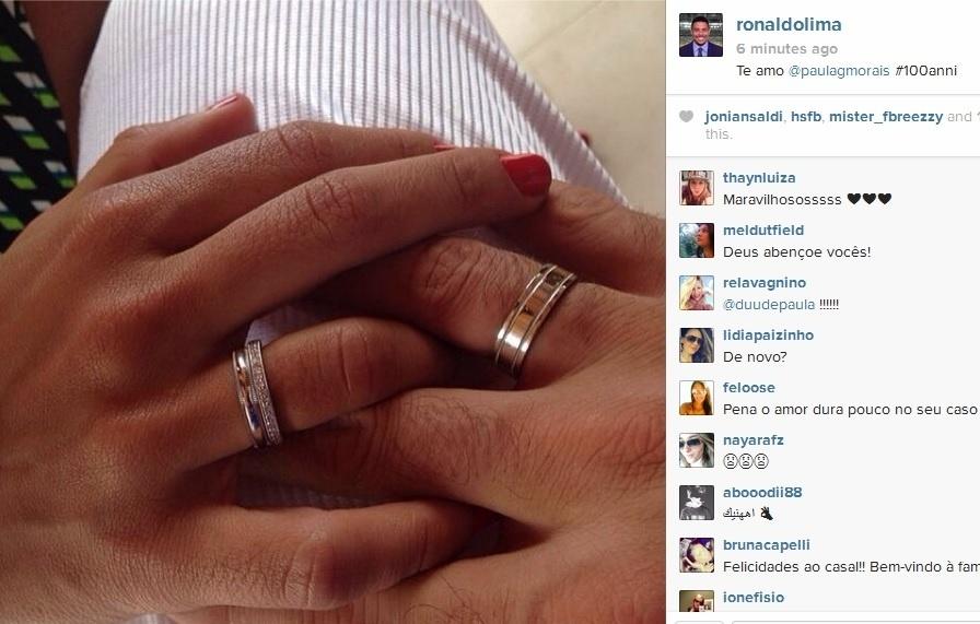 Ronaldo postou anel de aliança dado a Paula Morais