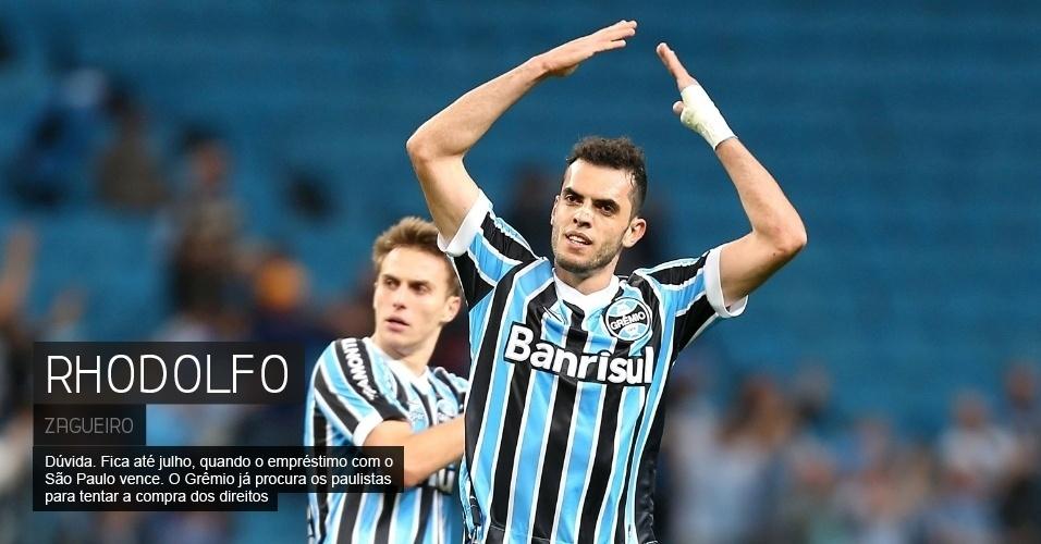 Dúvida. Fica até julho, quando o empréstimo com o São Paulo vence. O Grêmio já procura os paulistas para tentar a compra dos direitos