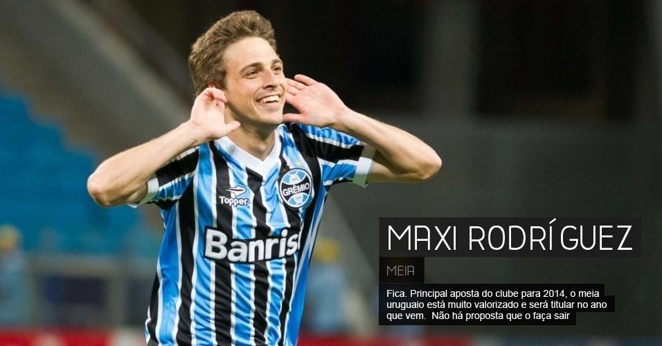 Fica. Principal aposta do clube para 2014, o meia uruguaio está muito valorizado e será titular no ano que vem.  Não há proposta que o faça sair.