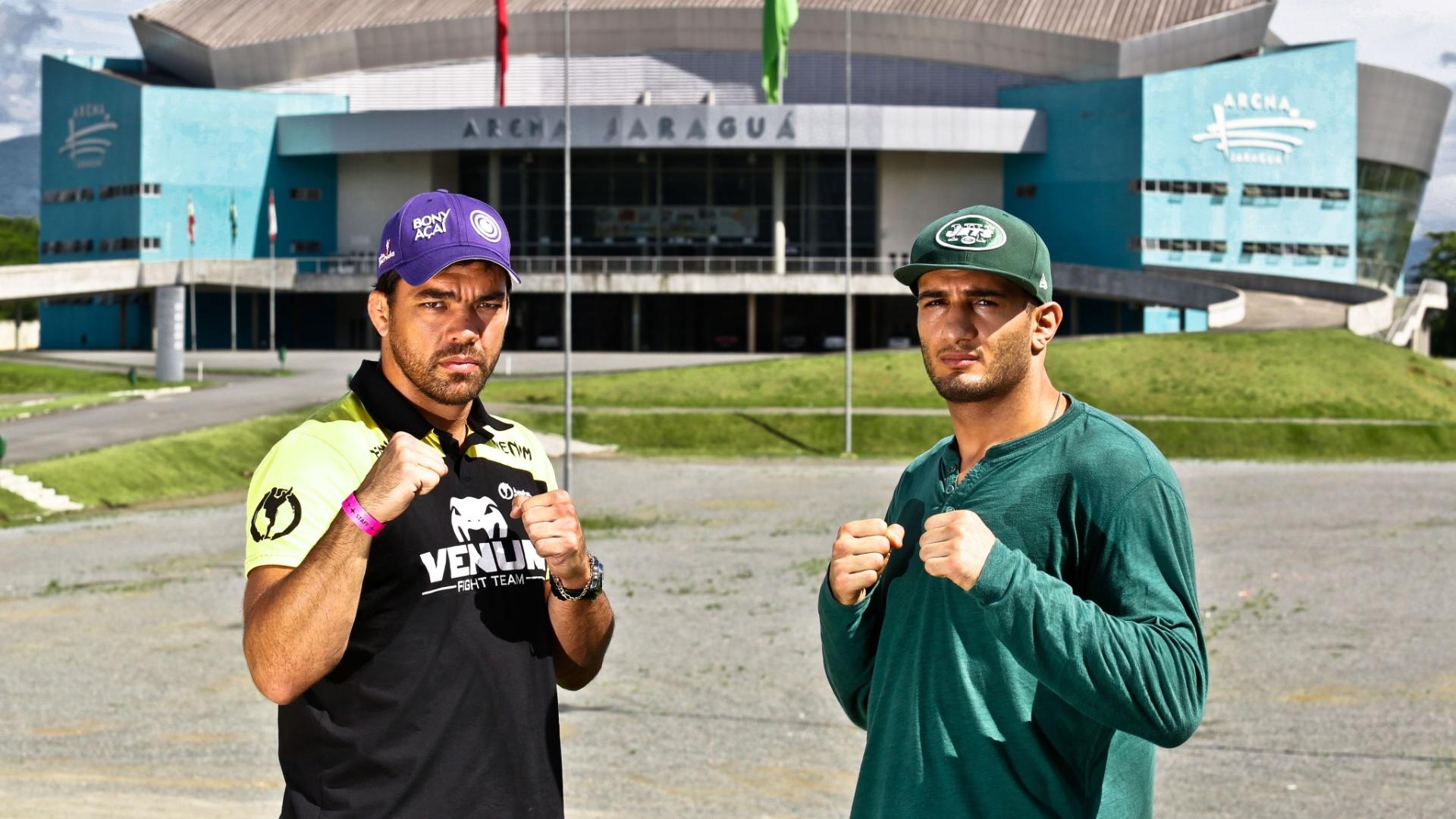 Lyoto Machida posa ao lado do seu adversário no UFC Jaraguá 2, Gegard Mousasi, para divulgar o evento