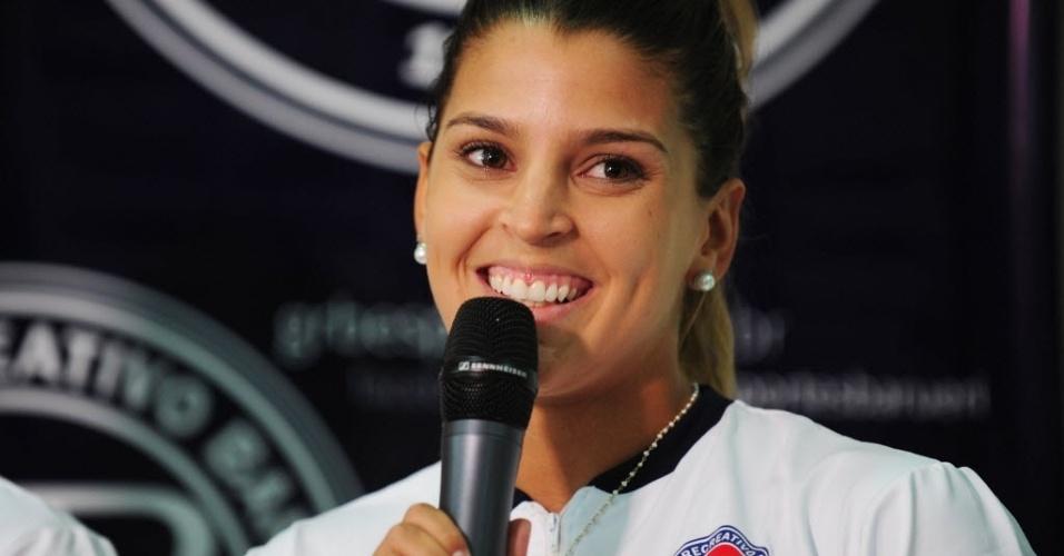 12.dez.2013 - Mari Paraíba, capa da Playboy de 2012, estava no vôlei de praia e foi contratada pelo Barueri