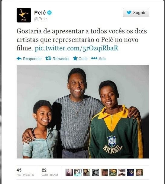 Pelé posa ao lado de estrelas do seu novo filme