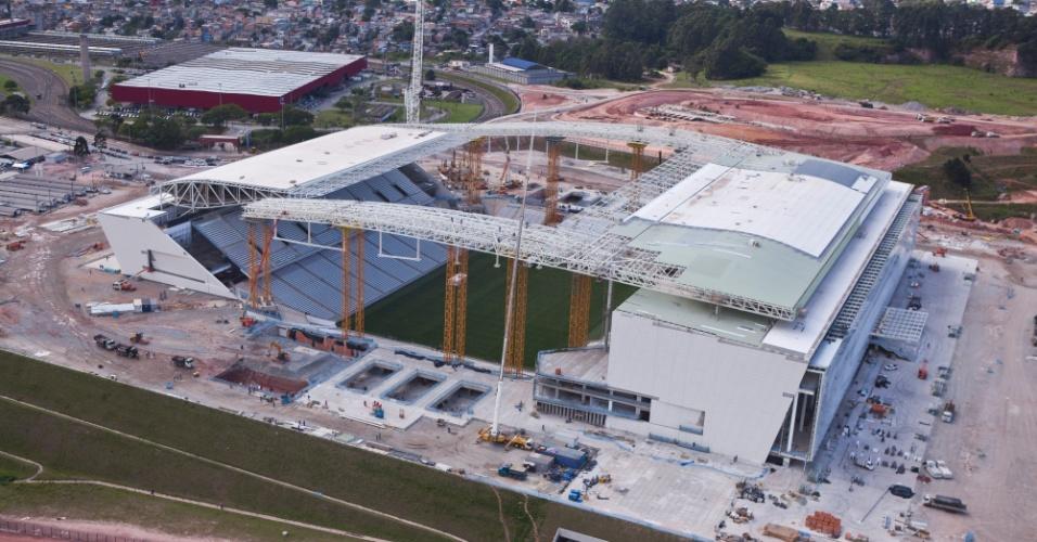13.12.2013 - Governo federal divulgou imagens da obra do Itaquerão, estádio de São Paulo para a Copa