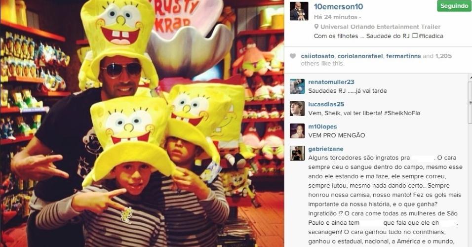 Emerson postou foto com os filhos na Disney e frase misteriosa: 'saudade do RJ'