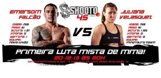 Cartaz da luta mista anunciada pelo Shooto, em card que será disputado no dia 20 de dezembro