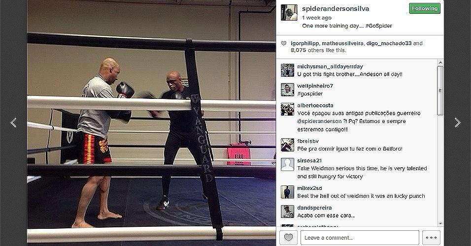 Anderson Silva treina em Los Angeles para luta contra Chris Weidman no UFC 168