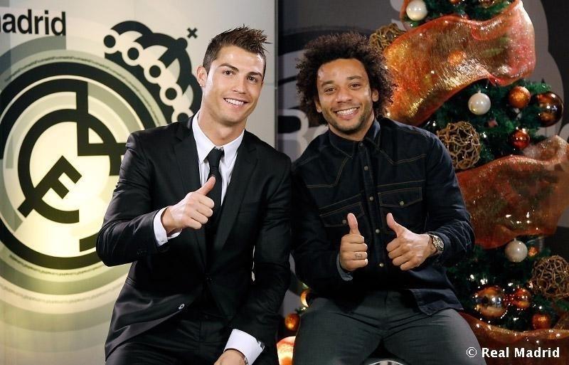 Cristiano Ronaldo e Marcelo festejam o Natal