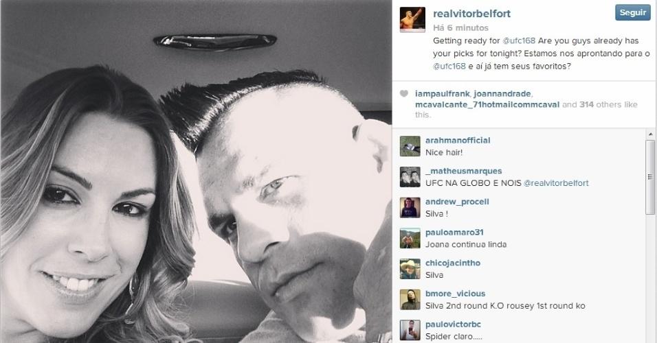28.dez.2013 - Vitor Belfort posta foto a caminho do MGM Grand Garden Arena para assistir o UFC 168