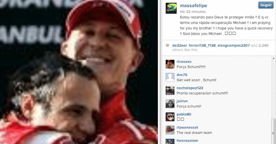 29.dez.2013 - Massa deseja rápida recuperação a Schumacher após acidente no esqui