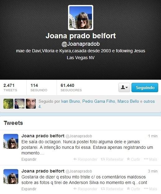 Joana Prado se manifesta no Twitter