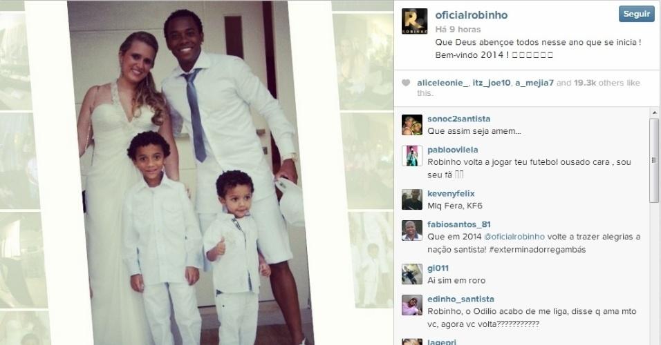 Ao lado da família, Robinho quer que 2014 seja abençoado