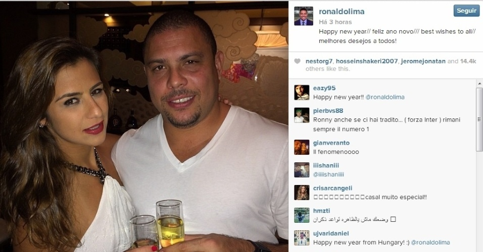 Ronaldo posta foto ao lado da noiva Paula Morais espera