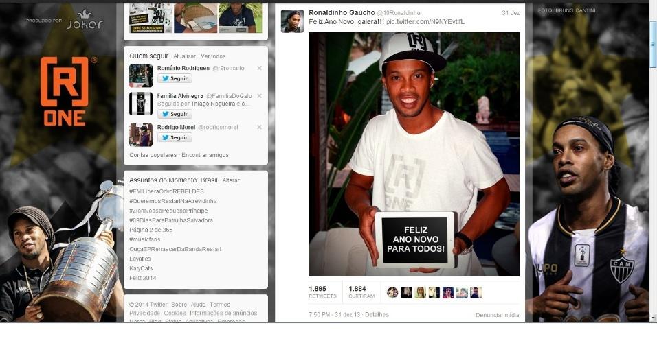 2 jan 2014 - Ronaldinho Gaúcho recebe por meio das redes sociais pedidos de atleticanos e de torcedores do Besiktas para escolher seu clube