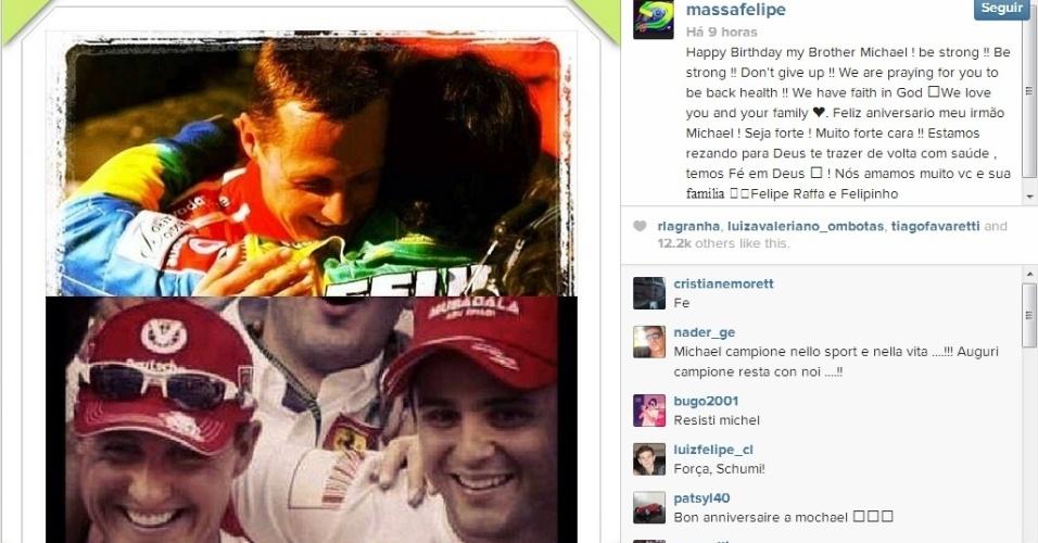 Felipe Massa deseja feliz aniversário a Schumacher e reza pela recuperação do ex-piloto