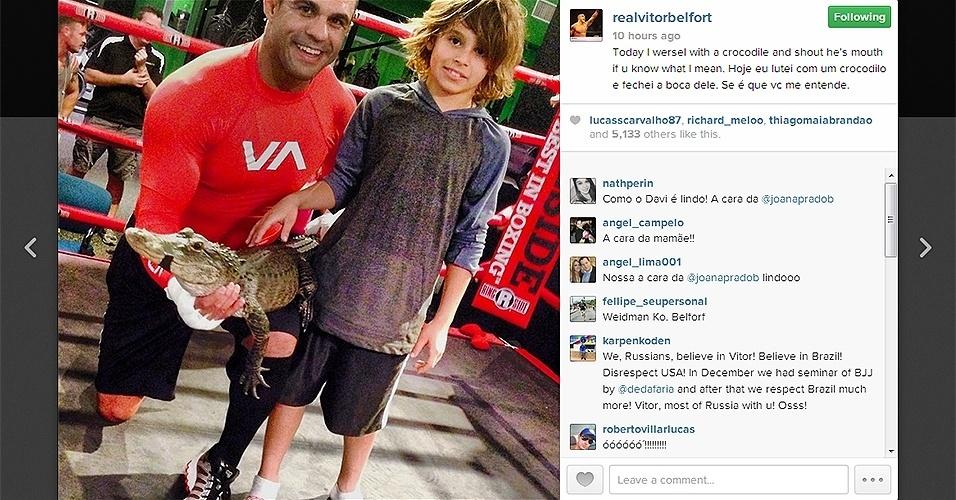 Belfort posta foto com crocodilo e manda indireta para Weidman