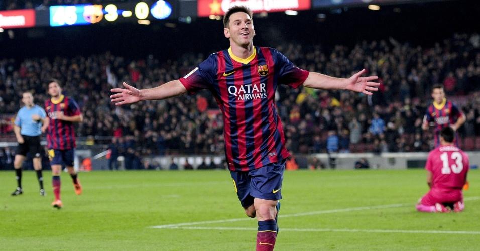 08.jan.2014 - Messi comemora após anotar sobre o Getafe pela Copa do Rei