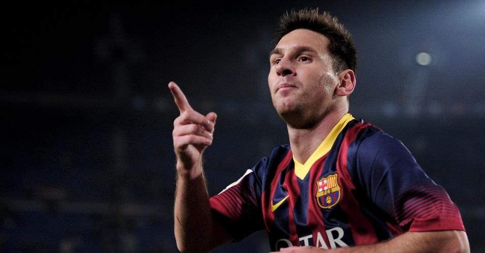 08.jan.2014 - Messi vibra após marcar sobre o Getafe em seu retorno aos gramados depois de lesão