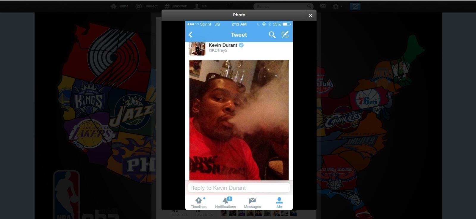 Kevin Durant diz que teve o celular hackeado após postar foto fumando