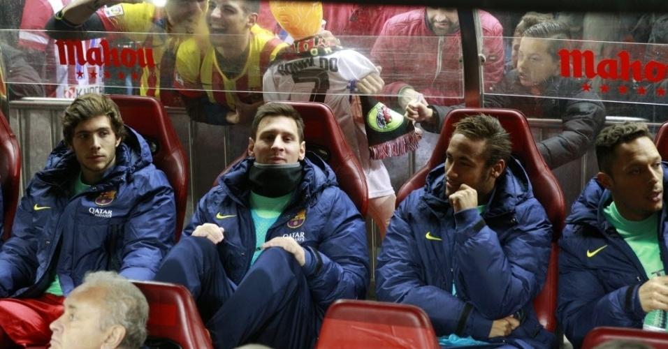 11. jan. 2014 - Messi e Neymar começam no banco de reservas o jogo contra o Atlético de Madri