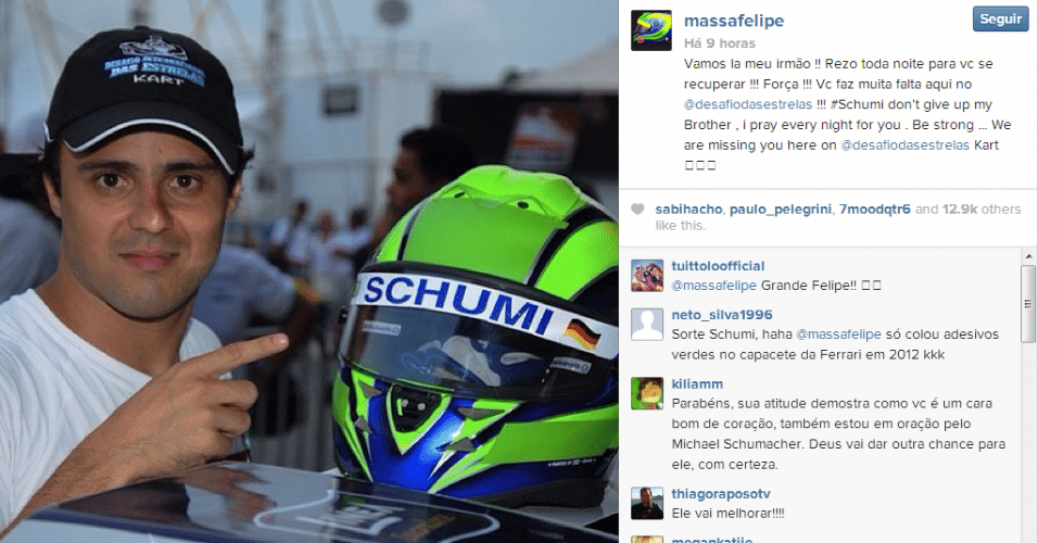 11.jan.2014 - Capacete utilizado por Massa no Desafio Internacional das Estrelas de kart leva o nome de Schumacher.